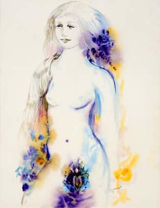 Chantal Grimb' Aquarelle titre Le Lys Dim 56-75