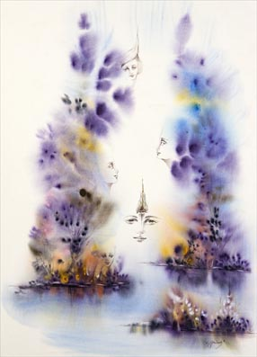 Chantal Grimb' Aquarelle Titre Reincarnation Dim 56x76