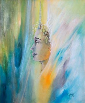 Chantal Grimb' Peinture à Huile Titre Licorne Dim 54x65